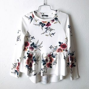 ✨ SHEIN off white floral print long sleeve blouse